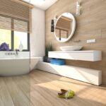 ciepłe kolory w projekcie łazienki